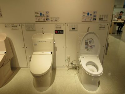 Japanese washlet toilets in a TOTO show room in Japan
