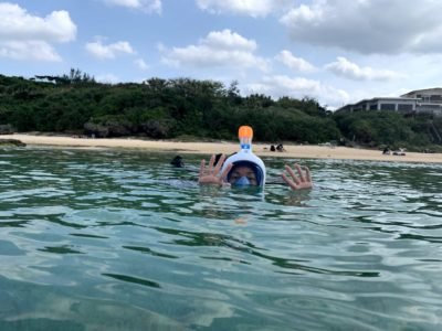 snorkeling with full face snorkel mask in Iriomote Japan