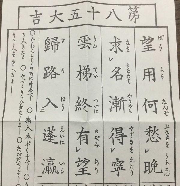 Omikuji fortune telling paper in Japan