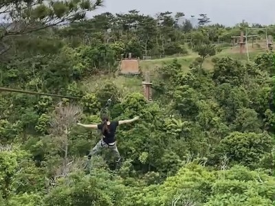 Zipline activity at Forest Adventure in Okinawa, Japan