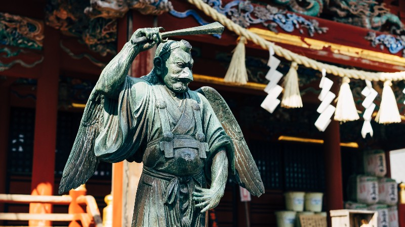 Statue at a shrine on Mt Takao in Japan